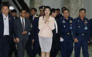 Thailand's Prime Minister Yingluck Shinawatra gestures while speaking ...