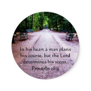 Proverbs 16:9 Inspirational Bible Verse Sticker