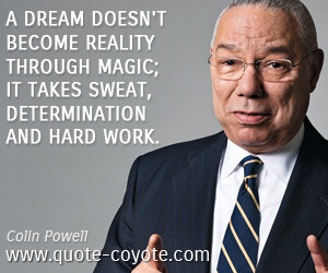 quotes - A dream doesn't become reality through magic; it takes sweat ...