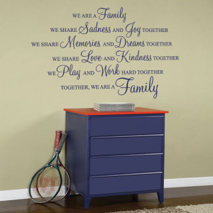 Cobalt blue We are a family wall sticker on a hallway wall