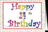 Happy 24th Birthday Card Rainbow with Confetti Border Design card ...
