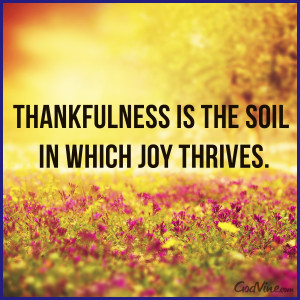 Thankfulness is the Soil in which Joy Thrives
