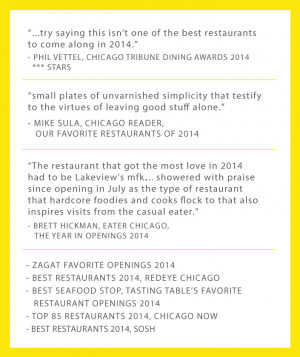 Chicago Tribune Honors mfk. with 2015 Dining Award!