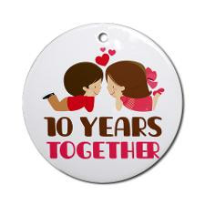 10 Years Together Anniversary Ornament (Round) for