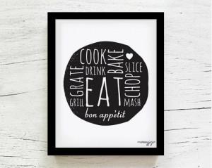 kitchen art print kitchen decor inspirational quote gift for foodie by ...