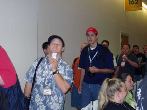 Tom waiting in line for Tracy Hickman's Killer Breakfast. The lines ...