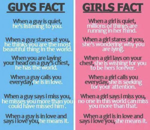 Facts about boys and girls-Boys VS Girls-Girls and Guys Quotes
