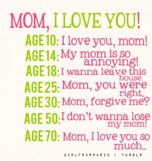 ... love you age 10 i love you mom age 14 my mom is so annoying age 18 i