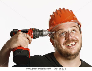 fine portrait of funny handyman isolated on white - stock photo