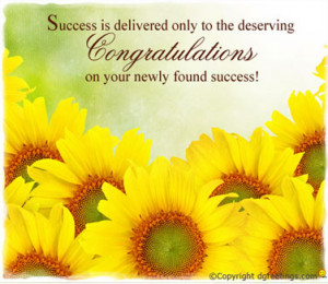 ... on your success! You have made us all proud. Keep up the good work