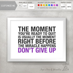 DON'T GIVE UP Inspirational Quote Print / by AgasBoxOfMiracles, $10.00