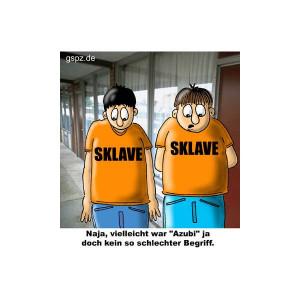Cartoon über Auszubildende am Arbeitsplatz.--(Cartoon of Trainees in ...