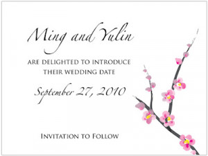 We currently offer a delightful Cherry Blossom Save the Date card that
