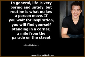 ... from the parade on the street - Ben Nicholas Quotes - StatusMind.com