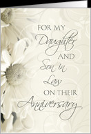 White Floral For Daughter & Son in Law Happy Wedding Anniversary Card ...