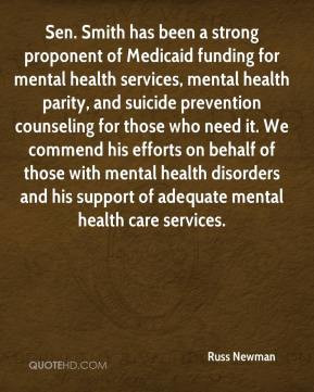 of Medicaid funding for mental health services, mental health parity ...