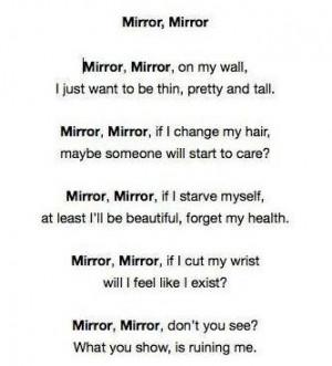 ... mirror poem pro ana pro mia pro ed self destructive eating dissorder