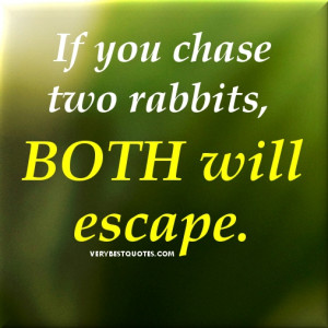 Focus quotes – If you chase two rabbits