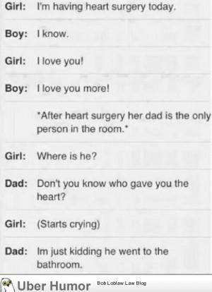 Classic Dad joke immediately after heart surgery