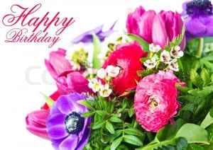 Stock image of 'Happy Birthday. Card with colorful flowers.'