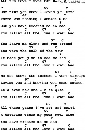 Old Country Song Lyrics With Chords All The Love Ever Had