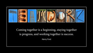 TEAMWORK Wood PlaqueBaseball Letter ArtHenry Ford Quote