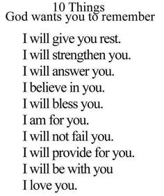 10 Things God Wants You to Remember God help me to remember these ...