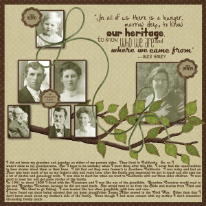 Our Heritage ~ simple family tree page with a nice heritage quote by ...