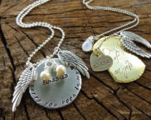 Set of Two, Hand Stamped Jewelry, P ersonalized Necklace, Miscarriage ...
