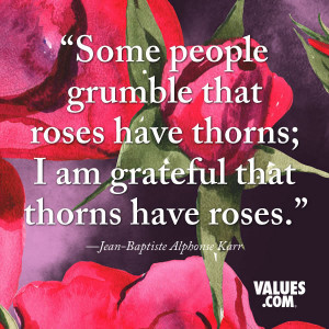 Some people grumble that roses have thorns; I am grateful that thorns ...
