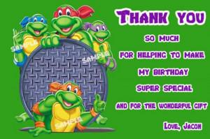 Teenage Mutant Ninja Turtles Thank you card Birthday