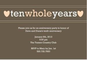 10th Anniversary Invitations – Wording Inspiration