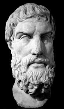 Roman marble bust of Epicurus