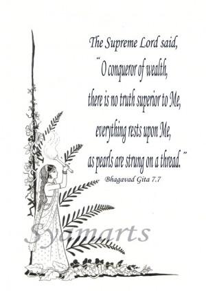 ... Gita quotes, ink line drawing,wood block vedas,devotional fine art