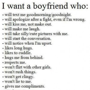 want a boyfriend who...