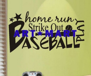 Vinyl Wall Quotes Word Collage Art Baseball, Wall Words No.911