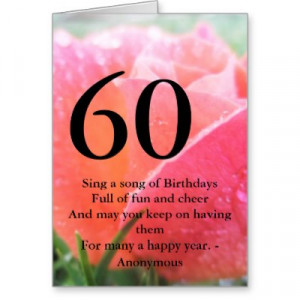 60th Birthday Fun Quote Greeting Card. 60th Birthday