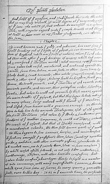 Page from Of Plymouth Plantation