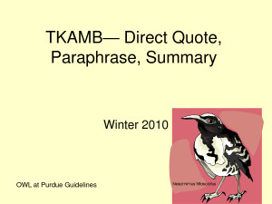TKAMB— Direct Quote, Paraphrase, Summary