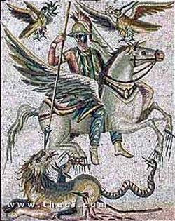 Bellerophon and the Chimaera, Roman mosaic from Palmyra C3rd A.D.