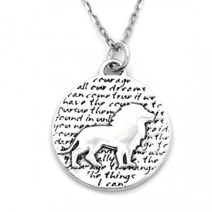 Lion Necklace (Courage quote), Sterling Silver, Rhodium Sterling ...