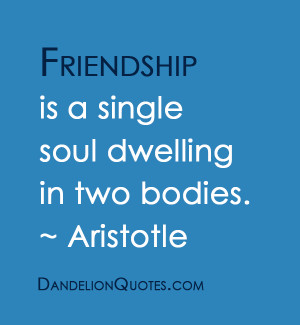 Friendship Is A Single Soul Dwelling In Two Bodies - Friendship Quote