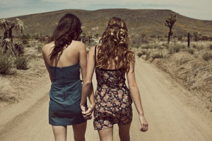 friendship, girls, road, walking