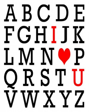 this ABC Valentine image in Photoshop. I just typed up the alphabet ...