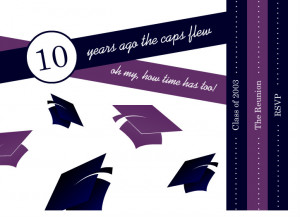 Paged Graduation Caps Class Reunion Invitation by PurpleTrail.com.