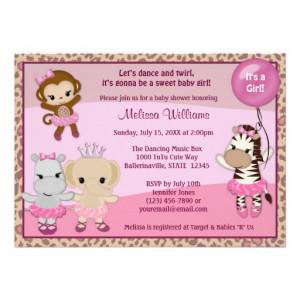 Tu Tu Cute Baby Shower invitation MONKEY GIRL TTC 5