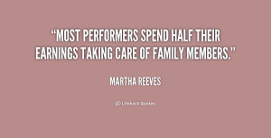 ... performers spend half their earnings taking care of family members