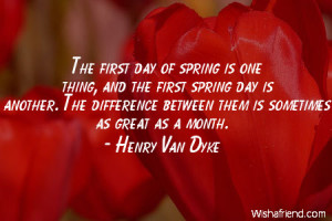 spring-The first day of spring is one thing, and the first spring day ...