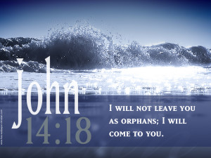 John 14:18 Bible Verses With Ocean Wave Picture HD Wallpaper
