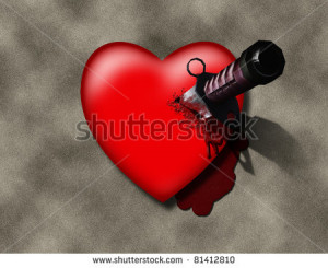 Stabbed Heart Stabbed heart - stock photo